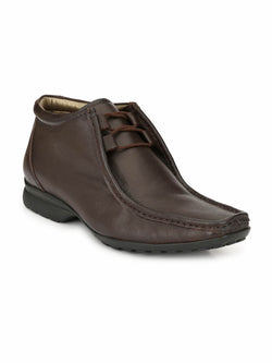 Men Brown Derby Leather Boots