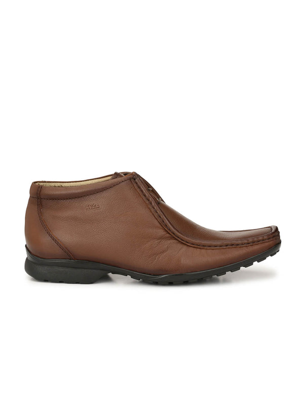 Men Tan Derby Leather Boots