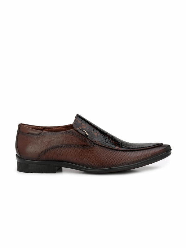 Men Brown Party Wear Leather Shoes