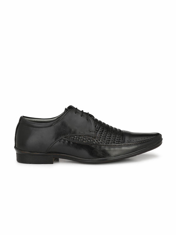 Men Black Derby Leather Shoes