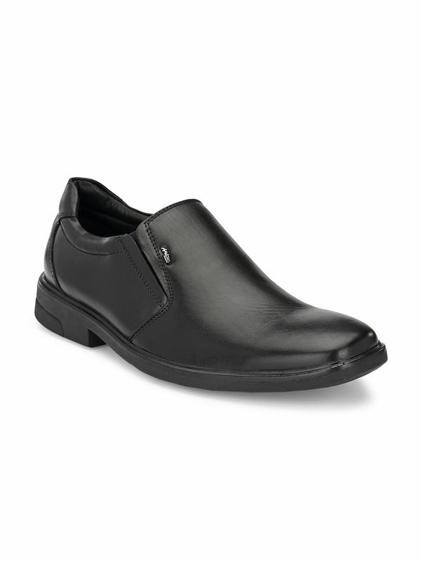 Men Black Formal Leather Slip-On Shoes