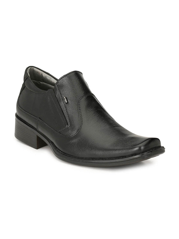 Men Black Slip-On Formal Leather Shoes