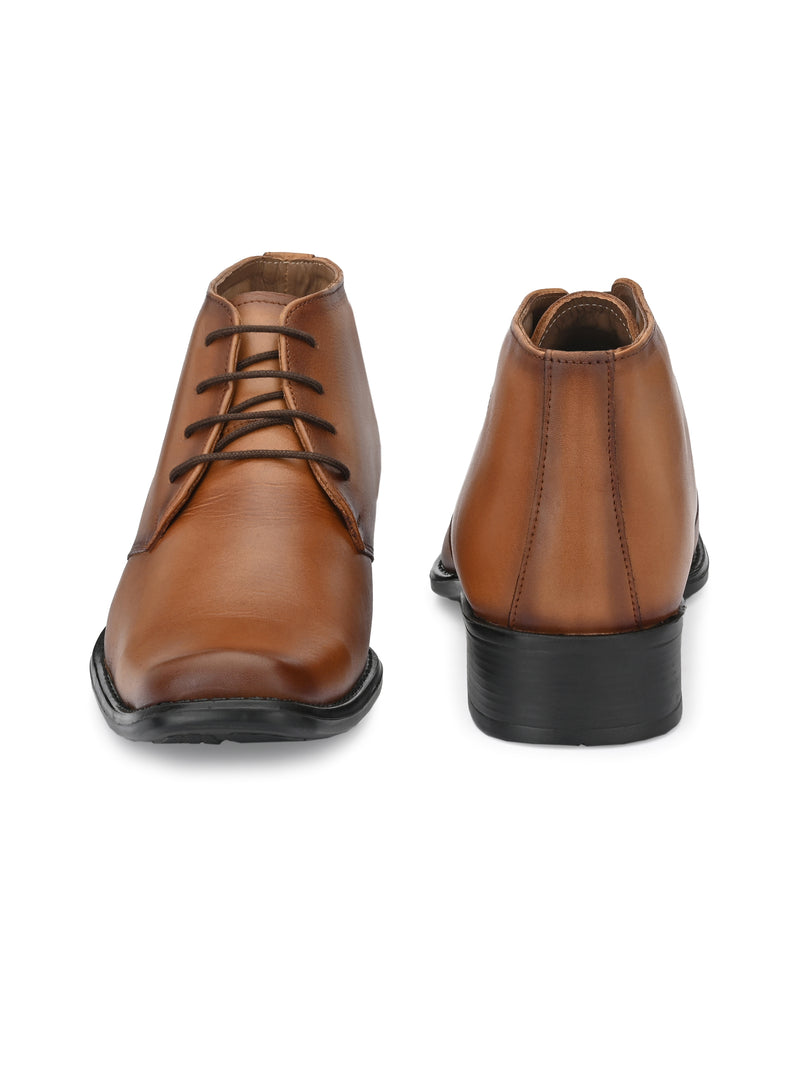 Hitz Men Tan Leather Derby Formal Ankle Shoes