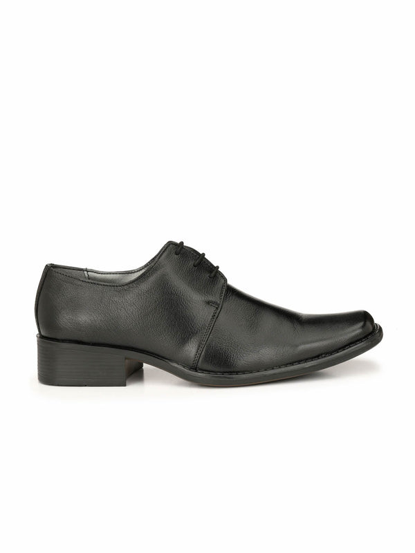 Men Black Derby Leather Formal Shoes