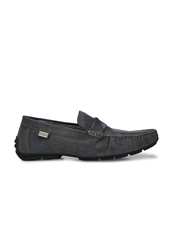 Hitz Men Blue Leather Moccasins Loafers