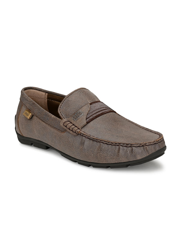 Hitz Men Brown Leather Moccasins Loafers