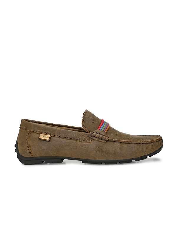 Hitz Men Olive Leather Moccasins Loafers