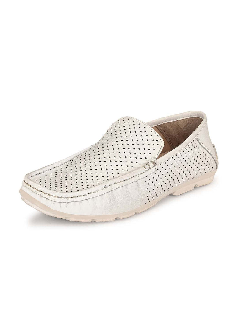 Men White Leather Loafers