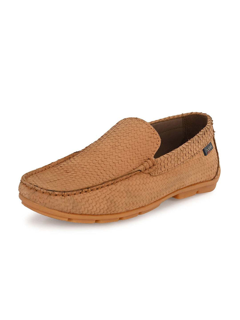 Men Tan Leather Loafers