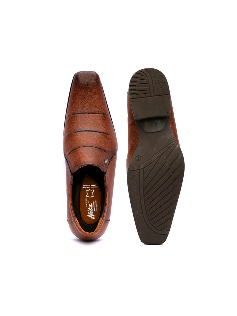 Men Brown Leather Semi-formal shoes