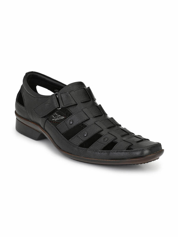 Reba - 1611 Black Leather Sandals