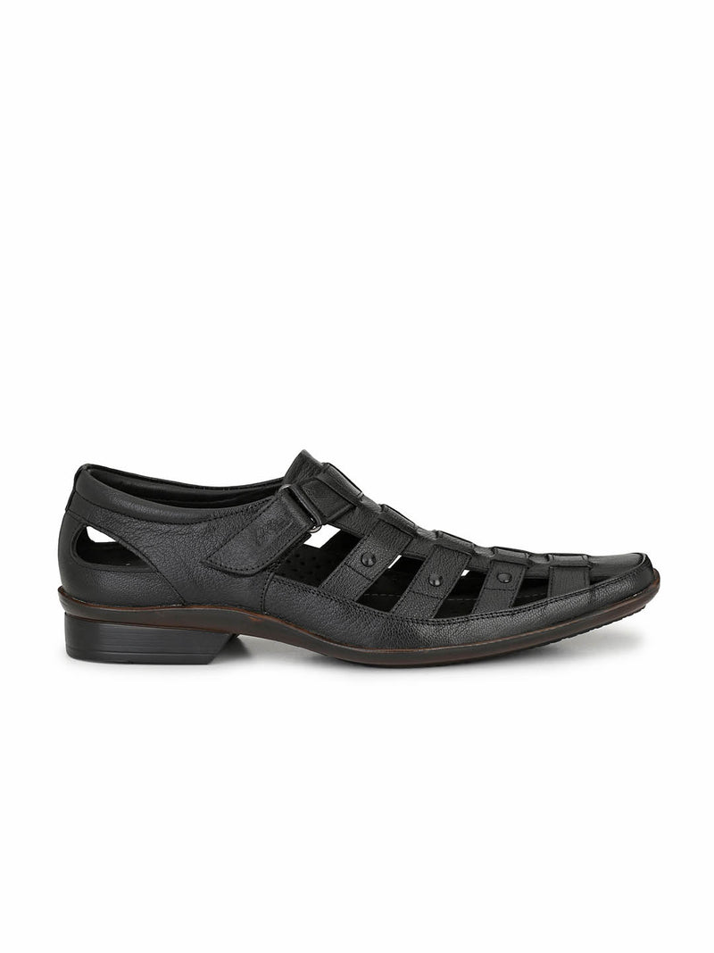 Men Black Leather Shoe-style Sandals with velcro fastening