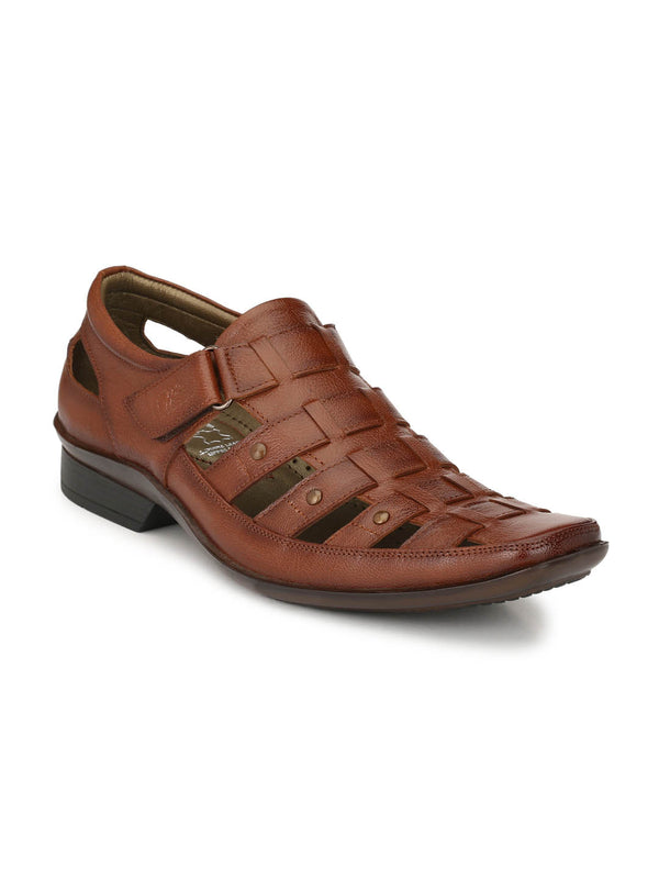 Men Tan Leather Shoe-style Sandals with velcro fastening