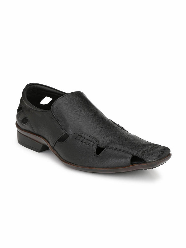 Reba - 1614 Black Leather Sandals