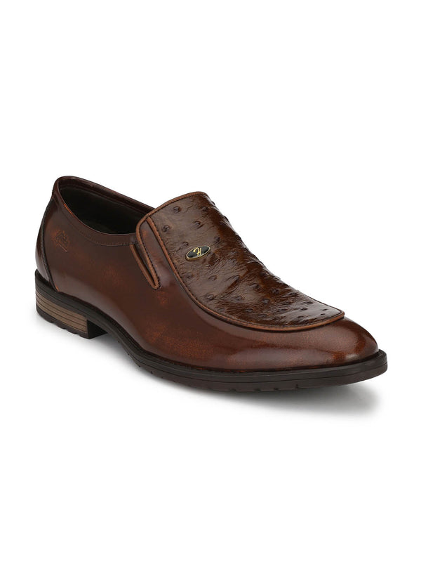 Men Solid Tan Party Wear Leather Shoes