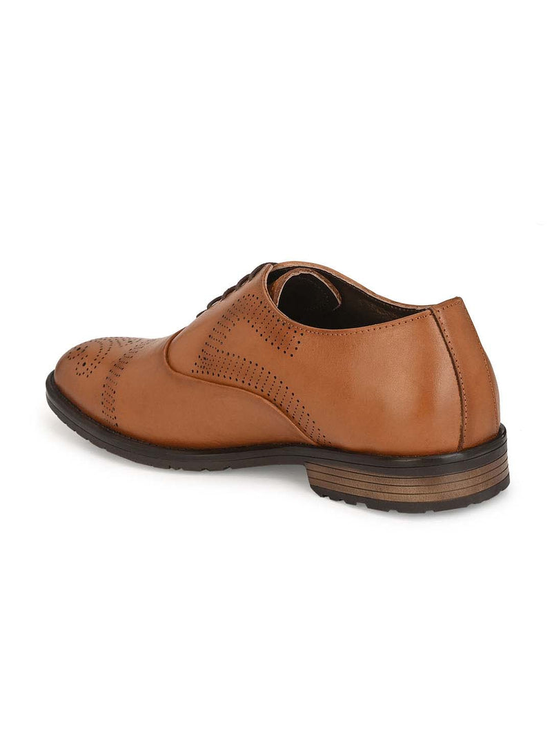 Men Leather Tan Textured Brogues Derby Shoes
