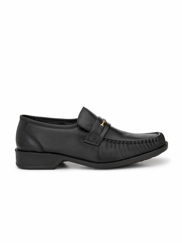 Men Black Solid Leather Comfort Shoes