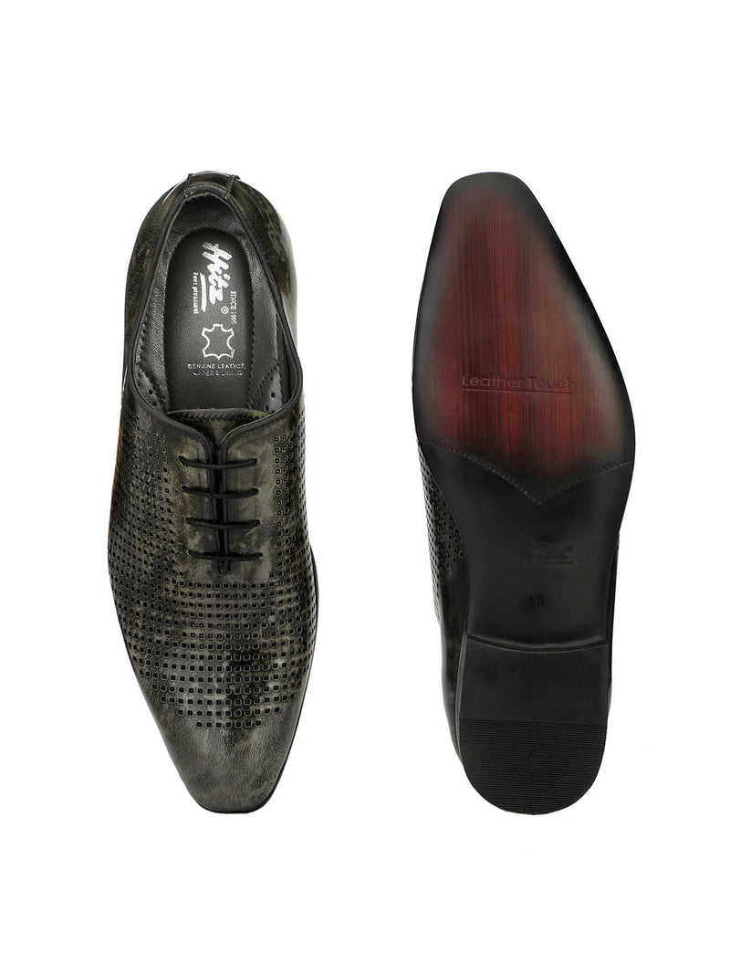 Men Grey Leather Party Wear Shoes
