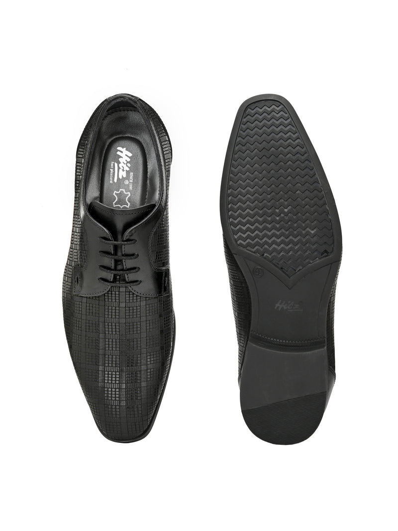 Hitz Men Black Leather Party Shoes