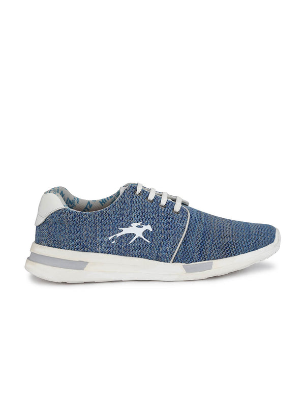 Men Blue Derby Flyknit Casual Shoes