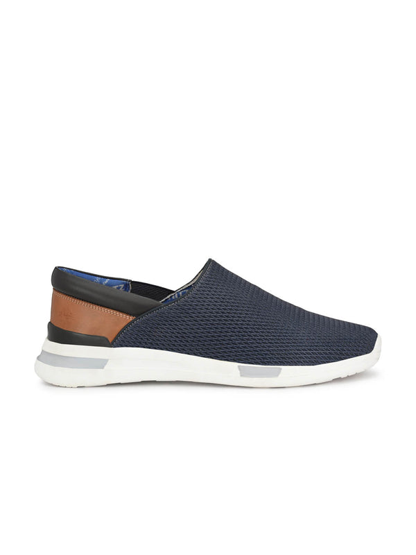 Men Casual Blue Leather Slip-on Shoes