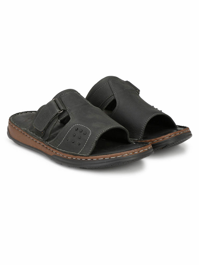 Renault - 2302 Black Leather Slippers