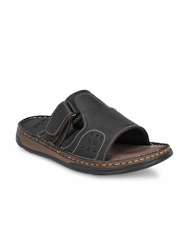 Men Genuine Brown Leather Slippers