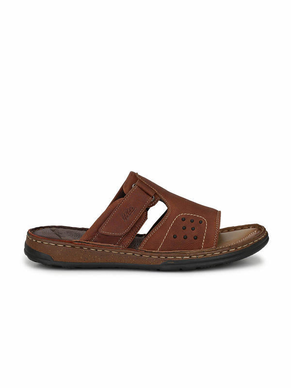 Men Genuine Tan Leather Slippers