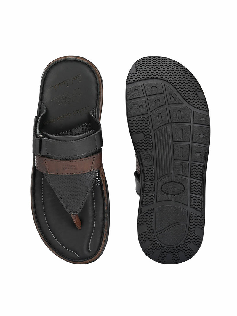 Renault - 2303 Black + Brown Leather Slippers