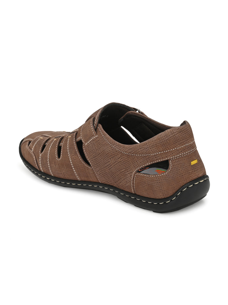 Hitz Brown Leather Shoe-Style Sandals for Men