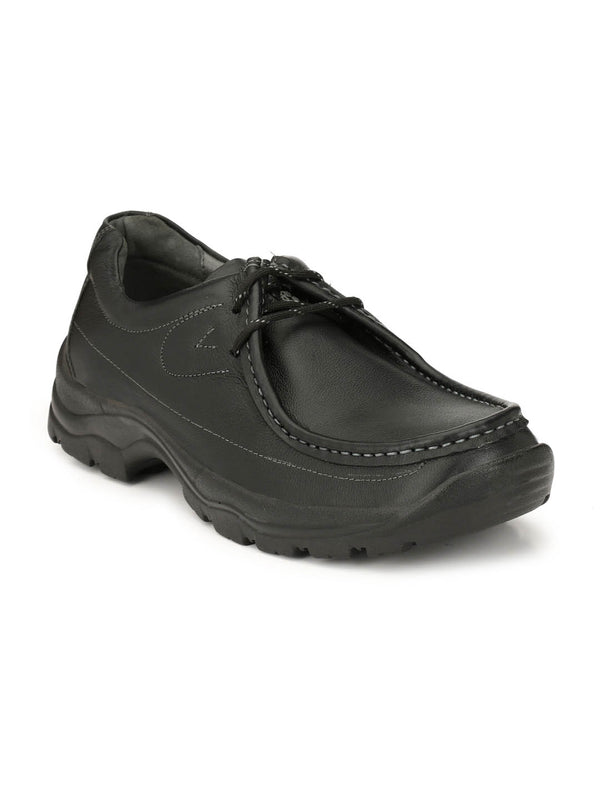 Men Black Derby Shoes For Casual Wear