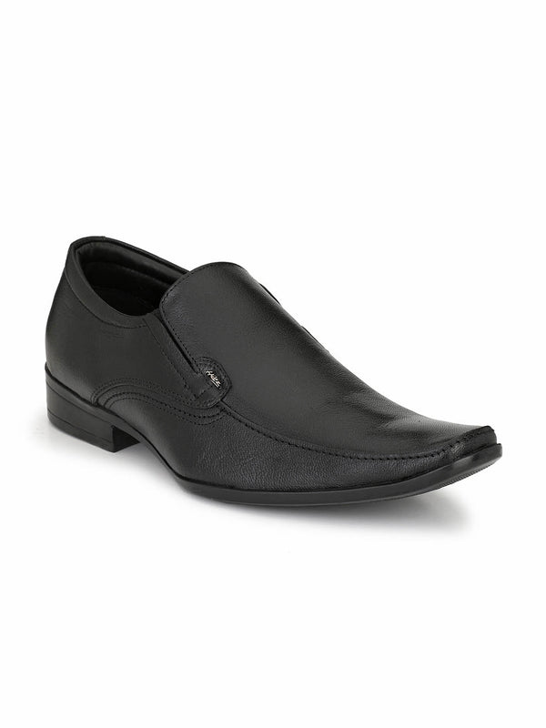 Men Black Leather Formal Slip-on Shoes