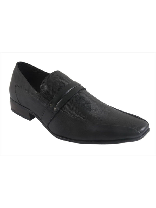Men Black Semi-Formal Leather Shoes