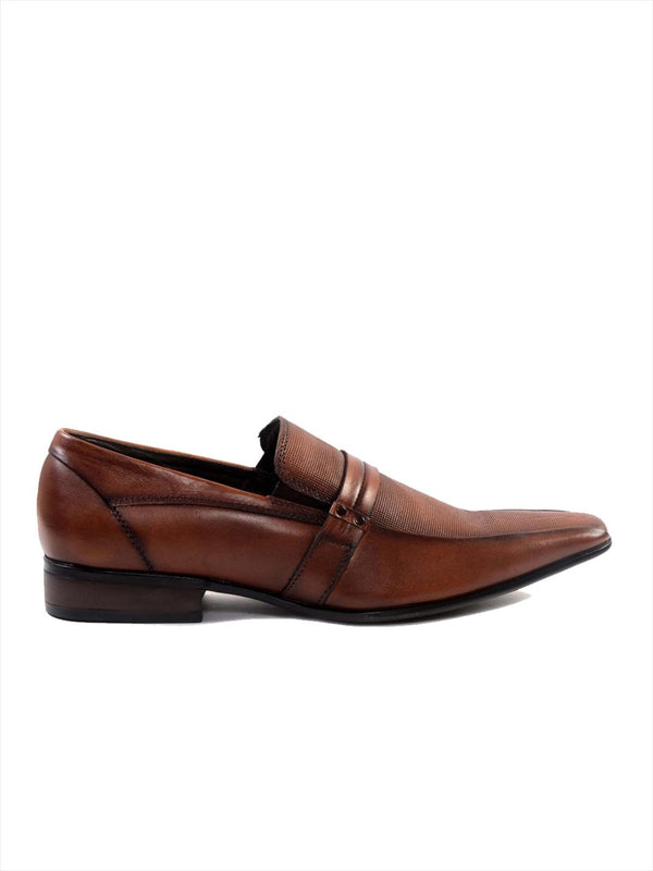 Men Tan Semi-Formal Leather Shoes