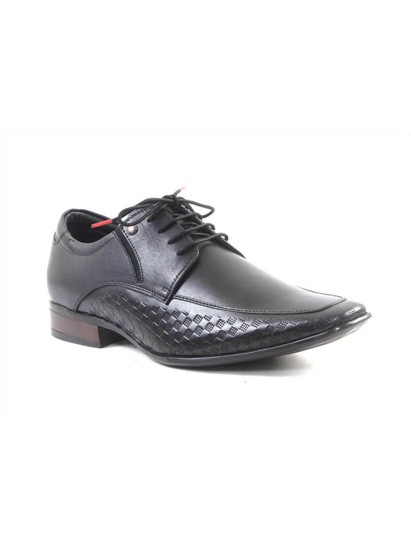 Men Black Leather Formal Derby Shoes