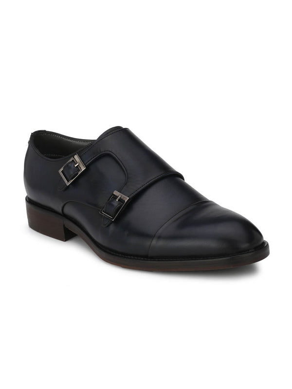 Premium - 3001 A Blue Leather Monk Shoes