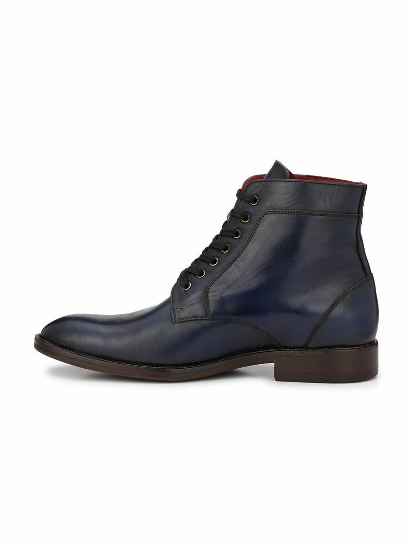 Blue Leather Derby Boots