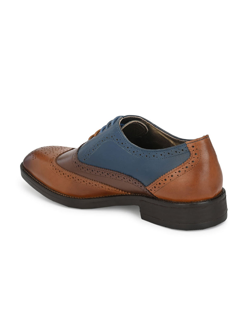 Hitz Men Tan Blue Derby Party Shoes
