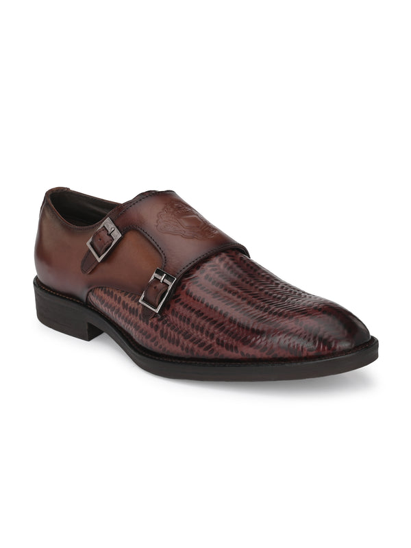 Hitz_Brown Genuine Leather Party Wear Double Monk Shoes for Men
