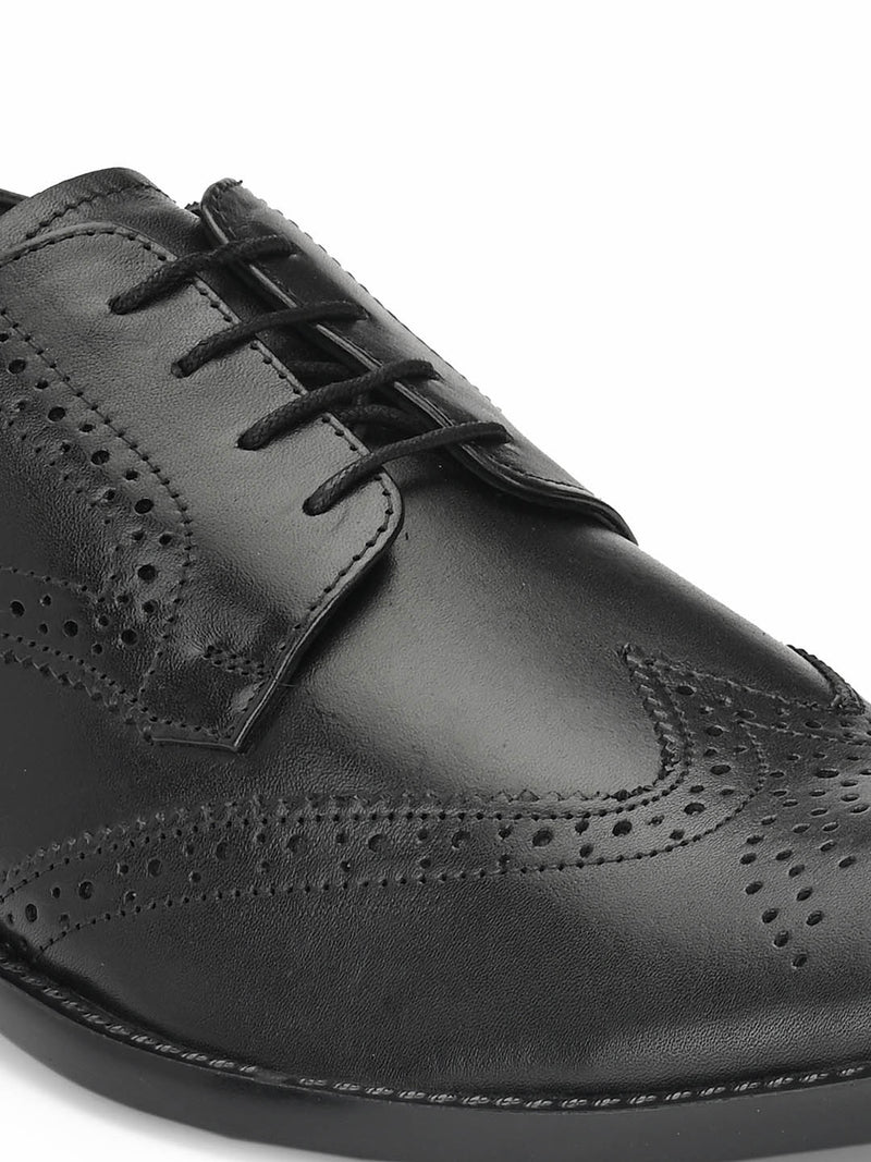 Mens Black Leather Brogue Derby shoes