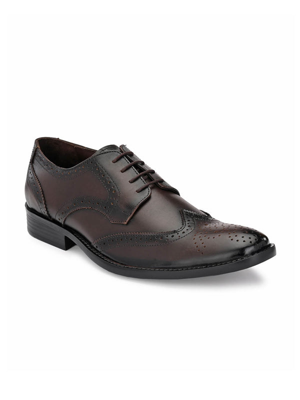 Mens Brown Leather Brogue Derby shoes