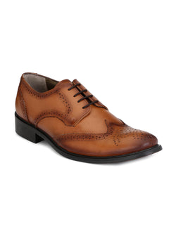 Mens Tan Leather Brogue Derby shoes