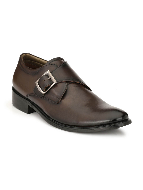 Men Brown Classic Single Monk Strap
