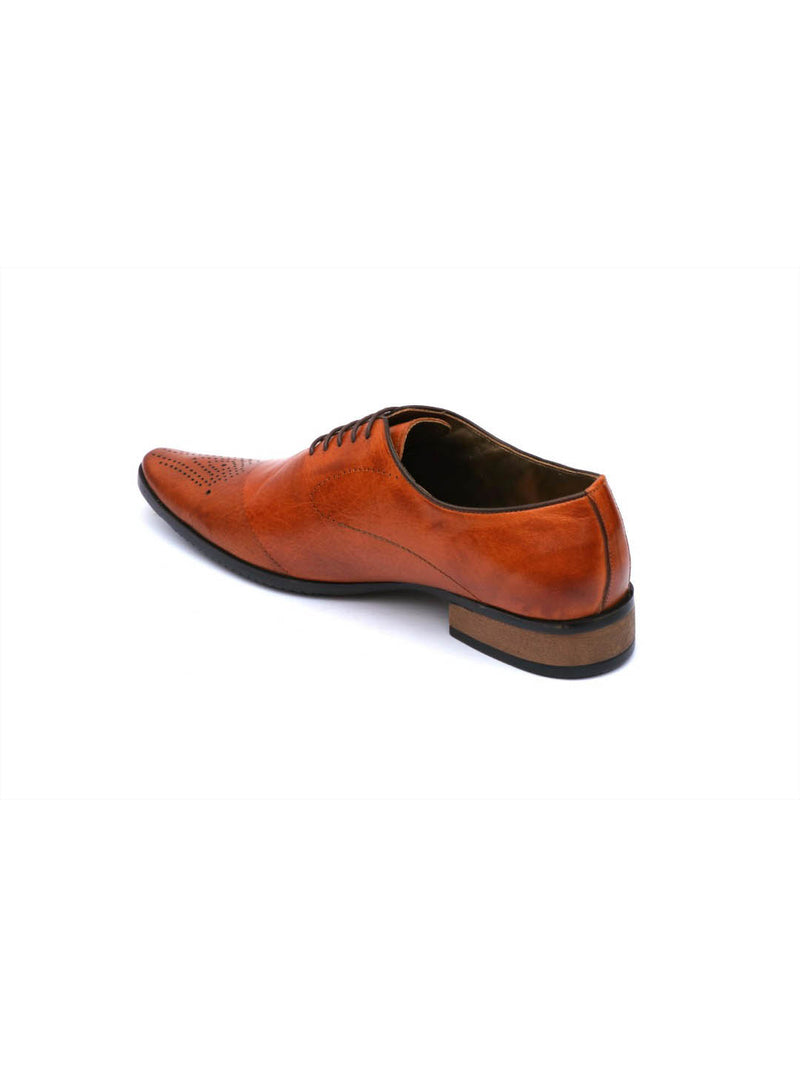 Men Tan Leather Classic Lace-up shoes