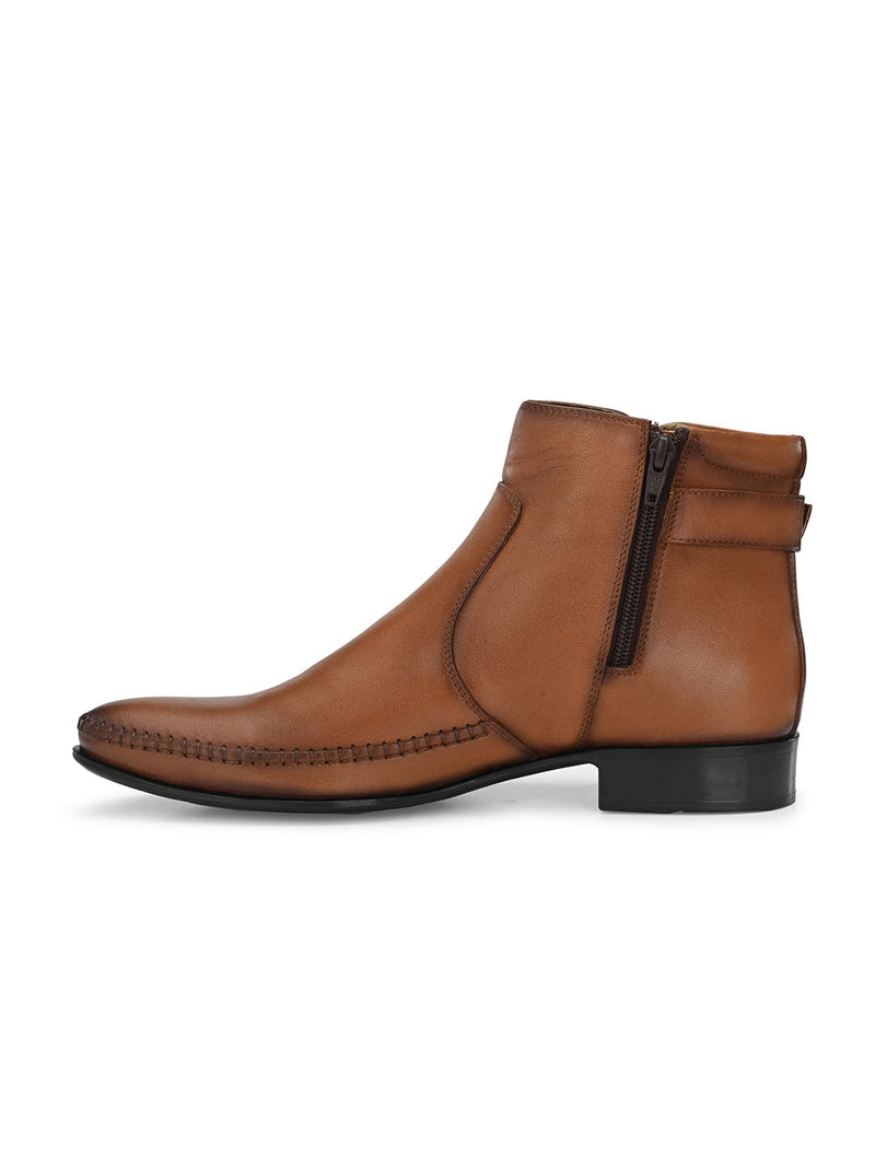 Men Tan Leather Slip-on Boots