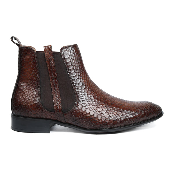 Hitz Men Tan Leather Chelsea Boots