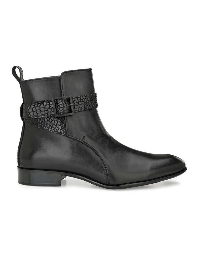Hitz Men Black Leather Boots with Buckle Fastening