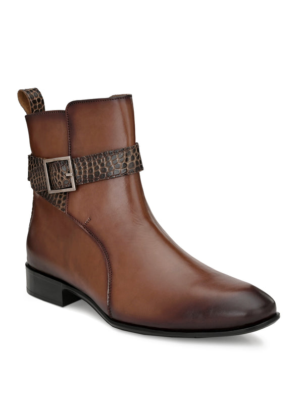 Hitz Men Brown Leather Boots with Buckle Fastening