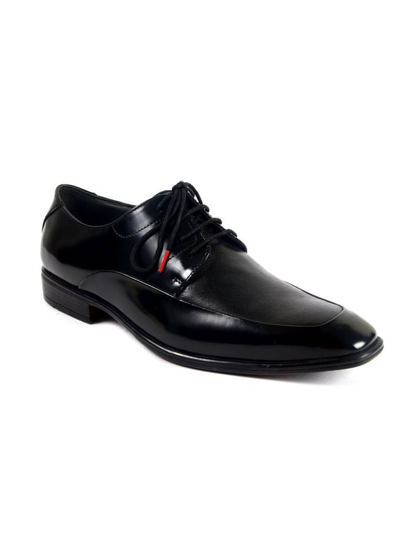 Men Solid Formal Black Leather Derby Shoes