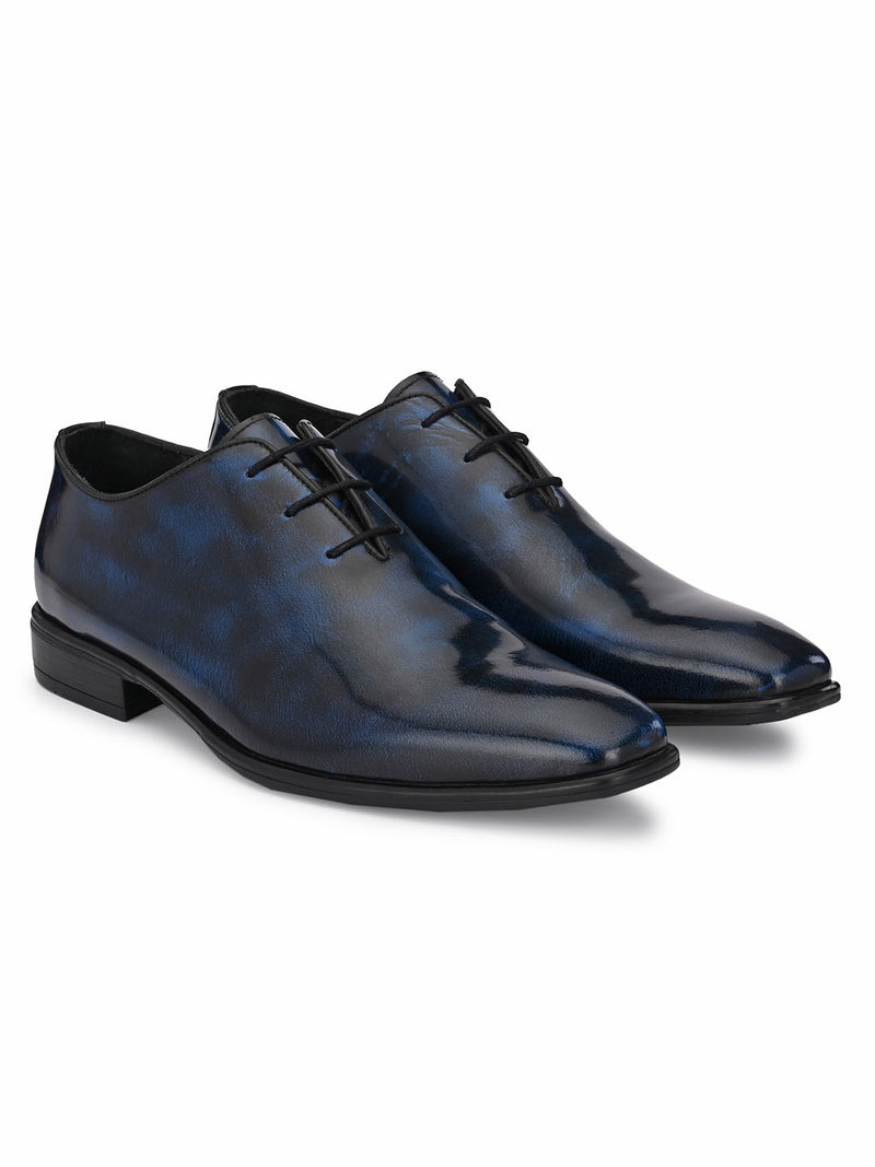 Hitz Men Blue Derby Party Shoes